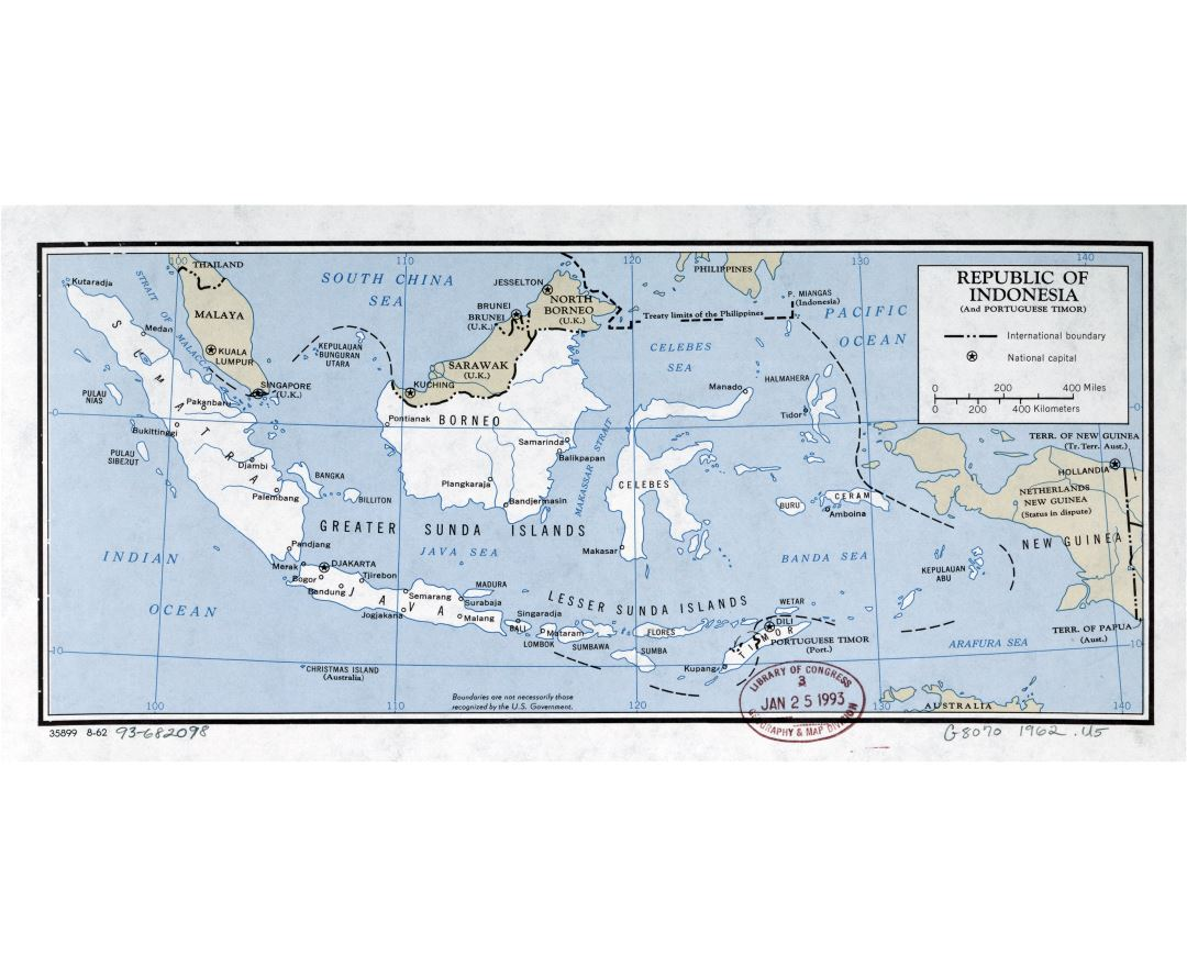 Large scale political map of Republic of Indonesia - 1962