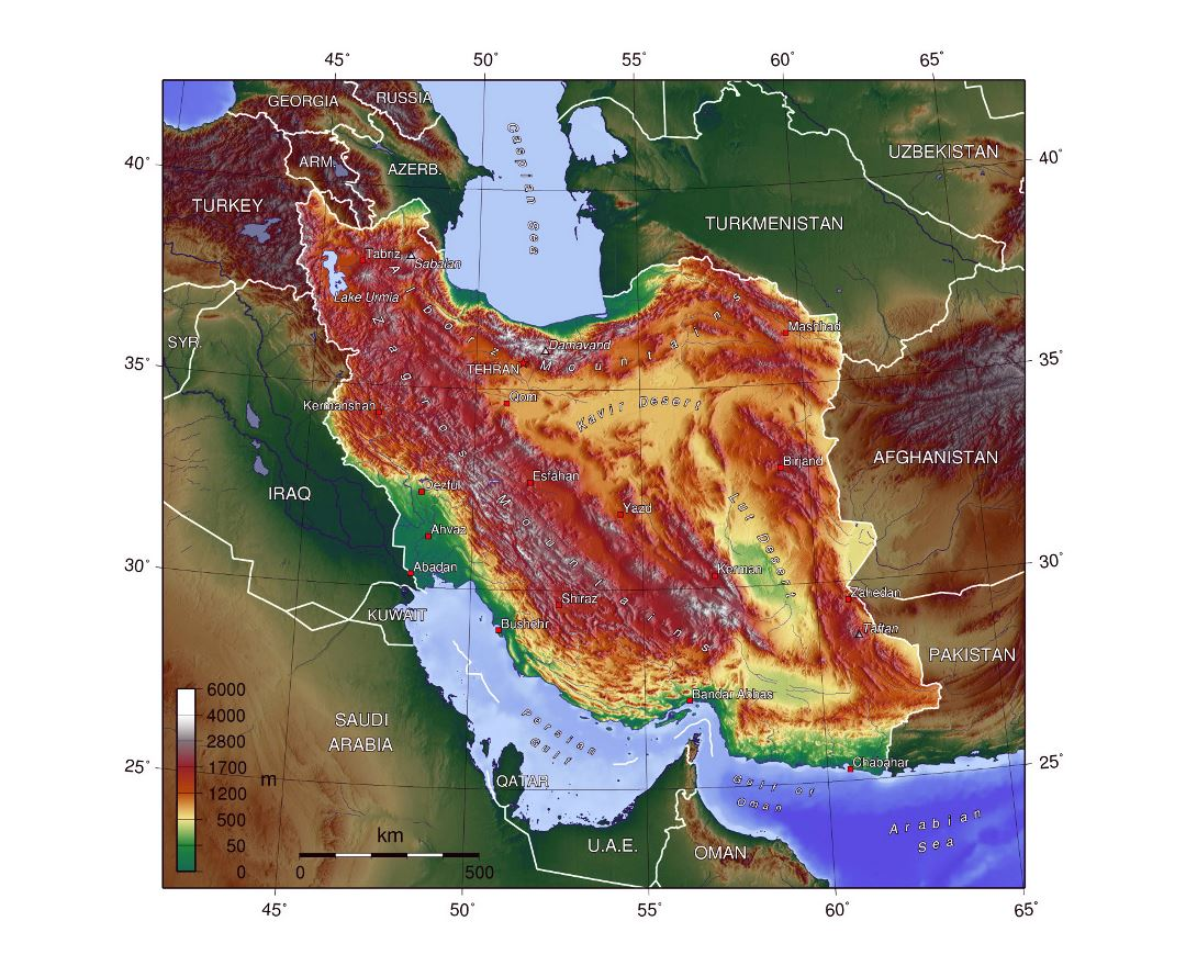 Detailed physical map of Iran
