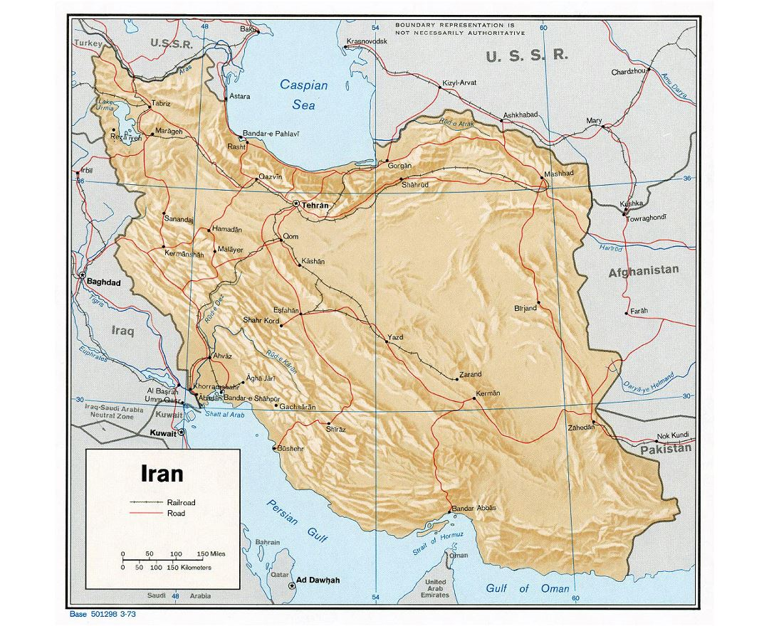 Detailed political map of Iran with relief, roads, railroads and major cities - 1973