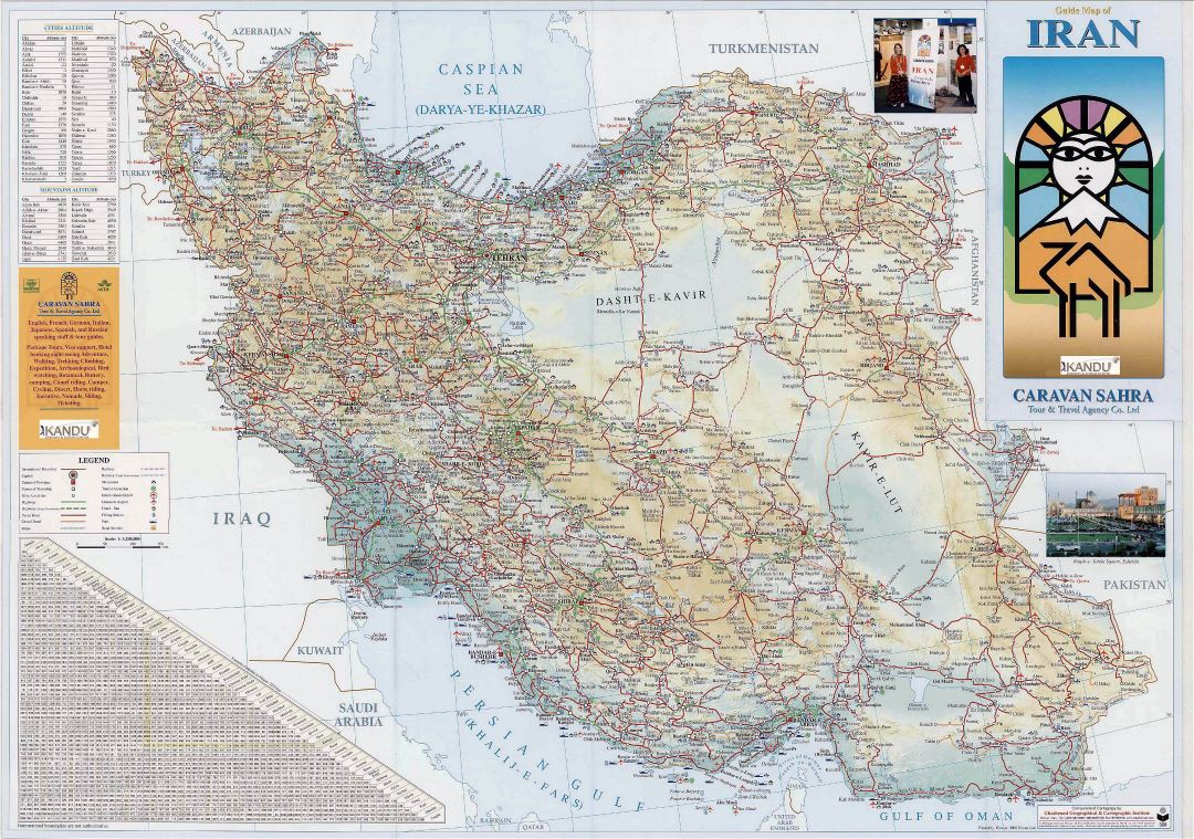 Large detailed guide map of Iran with all roads and cities