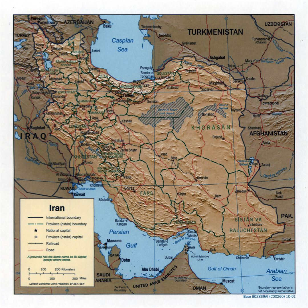 Large detailed political and administrative map of Iran with relief, roads, railroads and cities - 2001