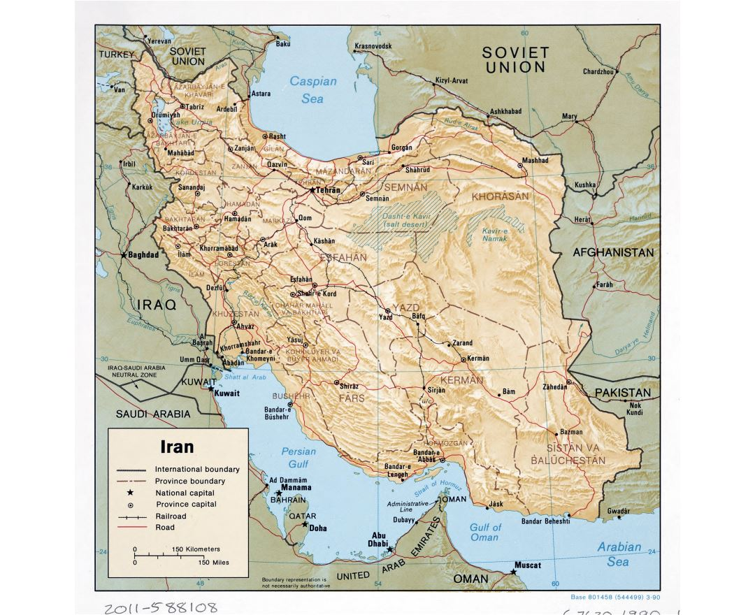 Large detailed political and administrative map of Iran with relief, roads, railroads and major cities - 1990