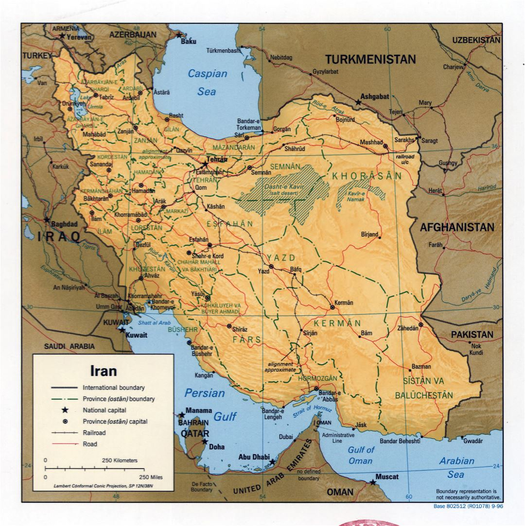 Large detailed political and administrative map of Iran with relief, roads, railroads and major cities - 1996