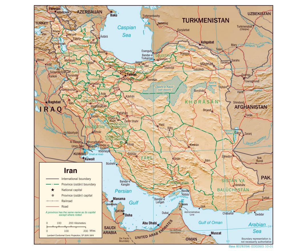 Large detailed political and administrative map of Iran with relief, roads, railroads and major cities - 2001