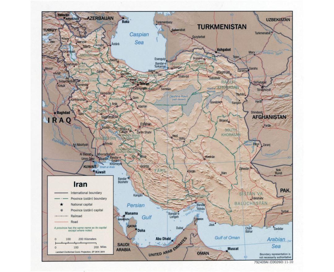 Large detailed political and administrative map of Iran with relief, roads, railroads and major cities - 2010