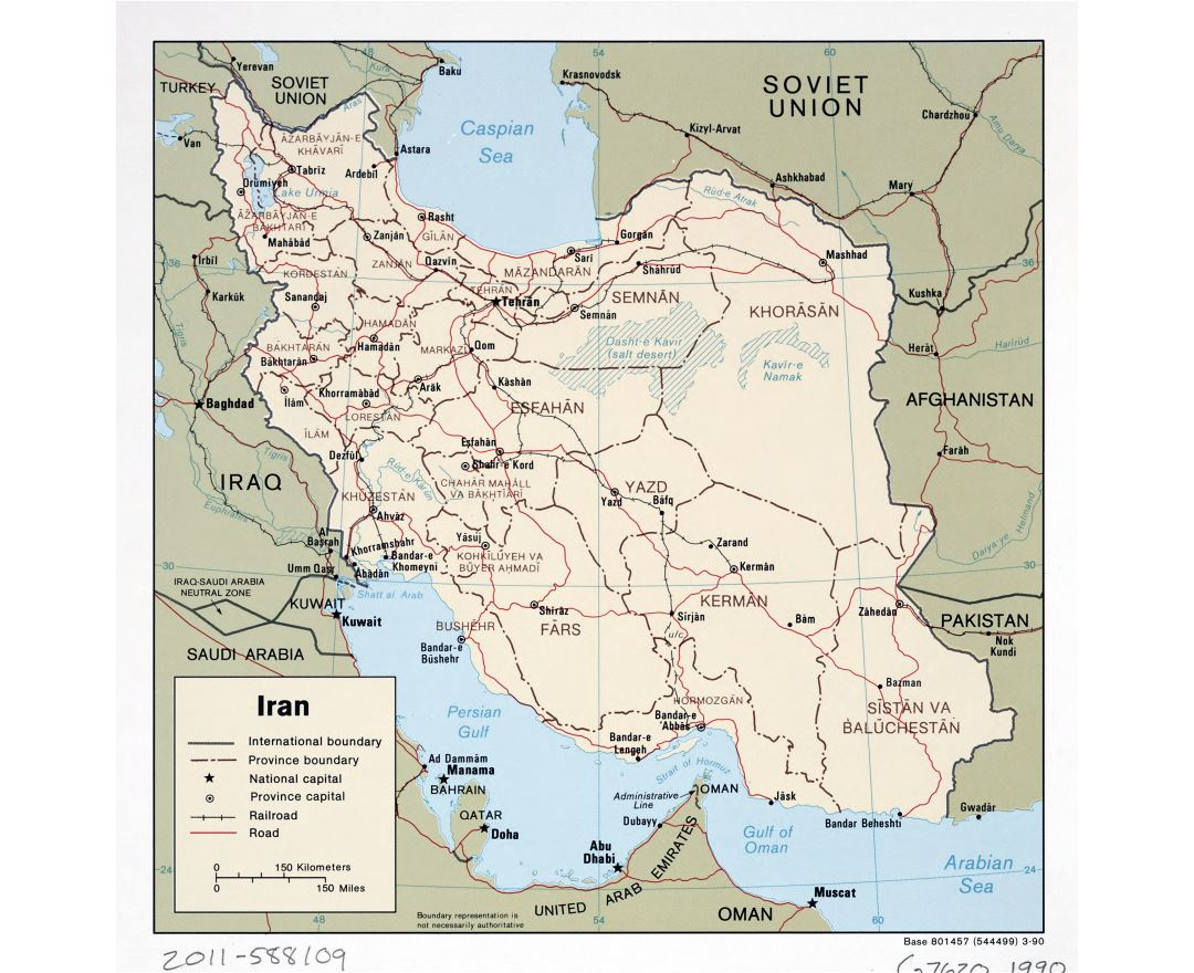 Large detailed political and administrative map of Iran with roads, railroads and major cities - 1990