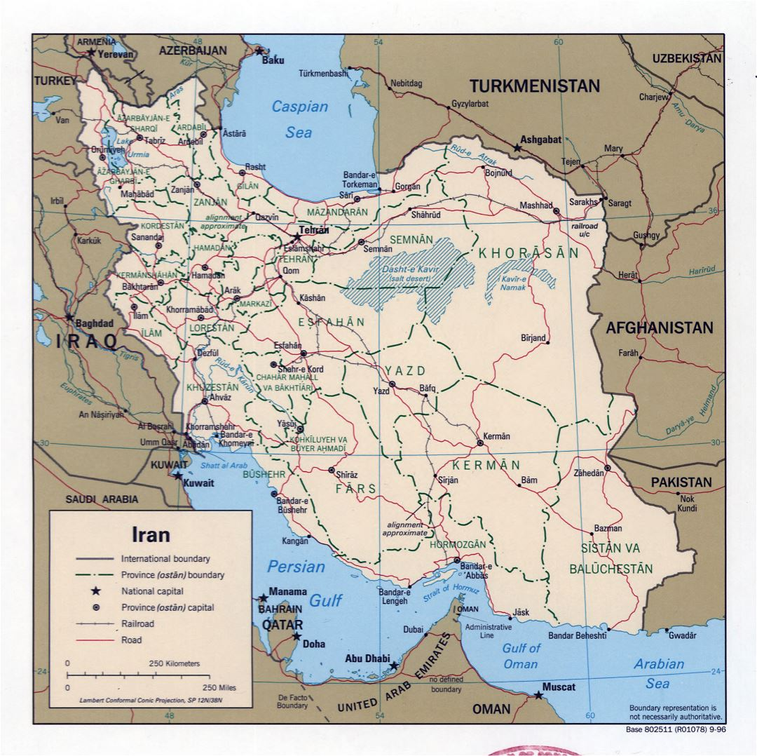 Large detailed political and administrative map of Iran with roads, railroads and major cities - 1996