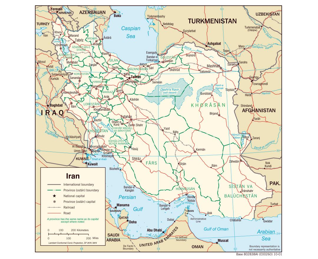 Large detailed political and administrative map of Iran with roads, railroads and major cities - 2001