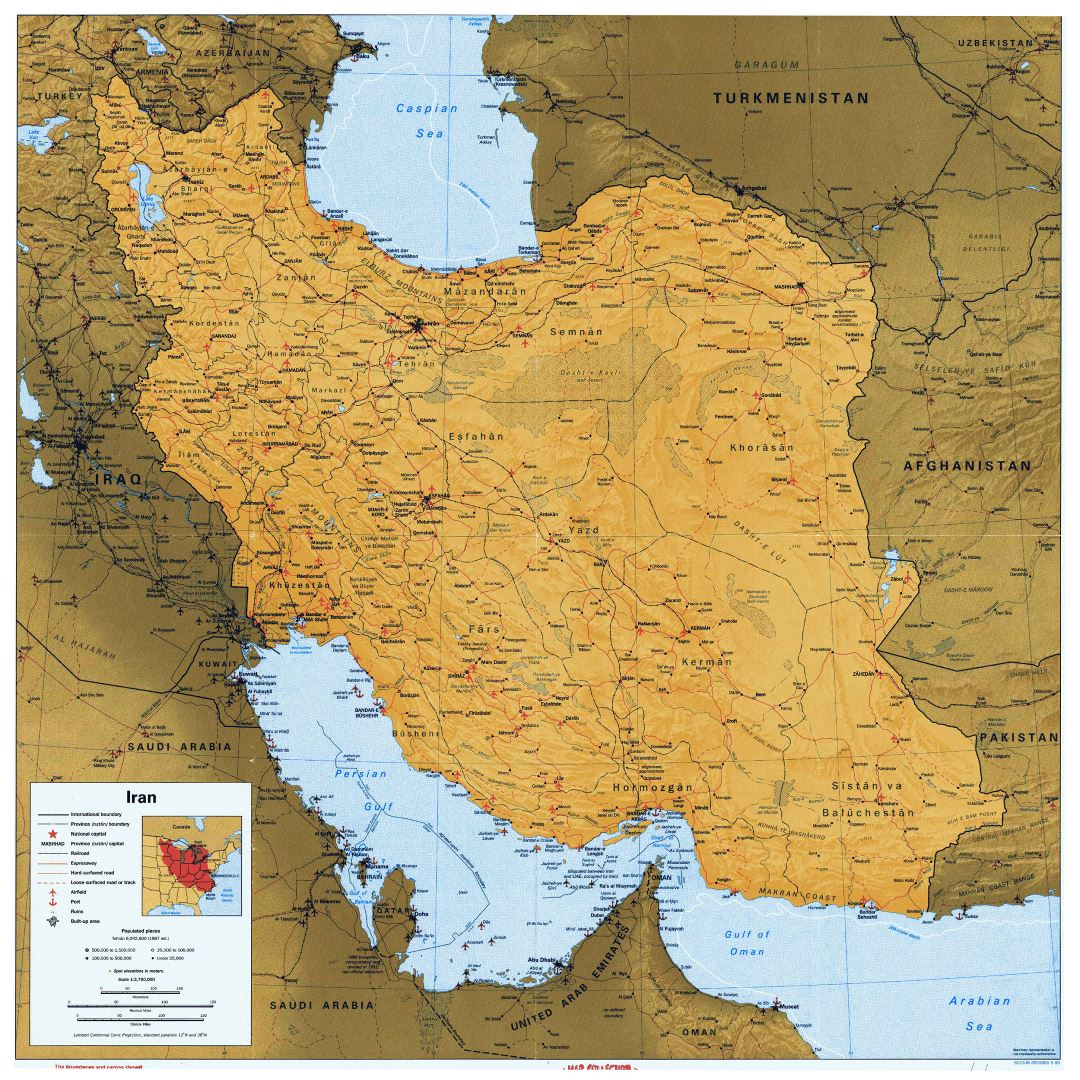 Large detailed political map of Iran with relief, all roads, railroads, cities, ports and airports - 1996