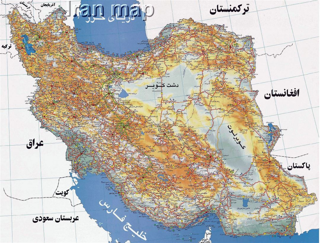 Large detailed road map of Iran in persian