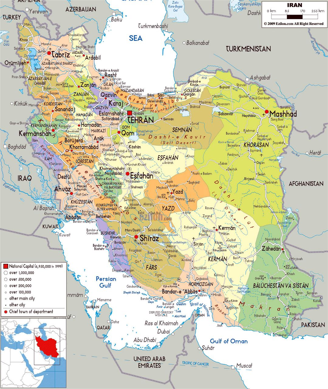 Large political and administrative map of Iran with all cities, roads and airports