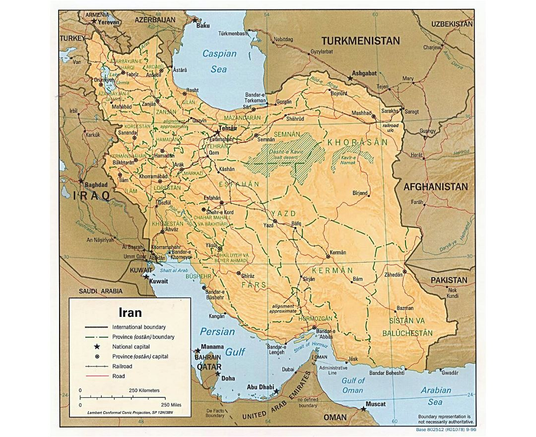 Large political and administrative map of Iran with relief, roads, railroads and cities - 1996