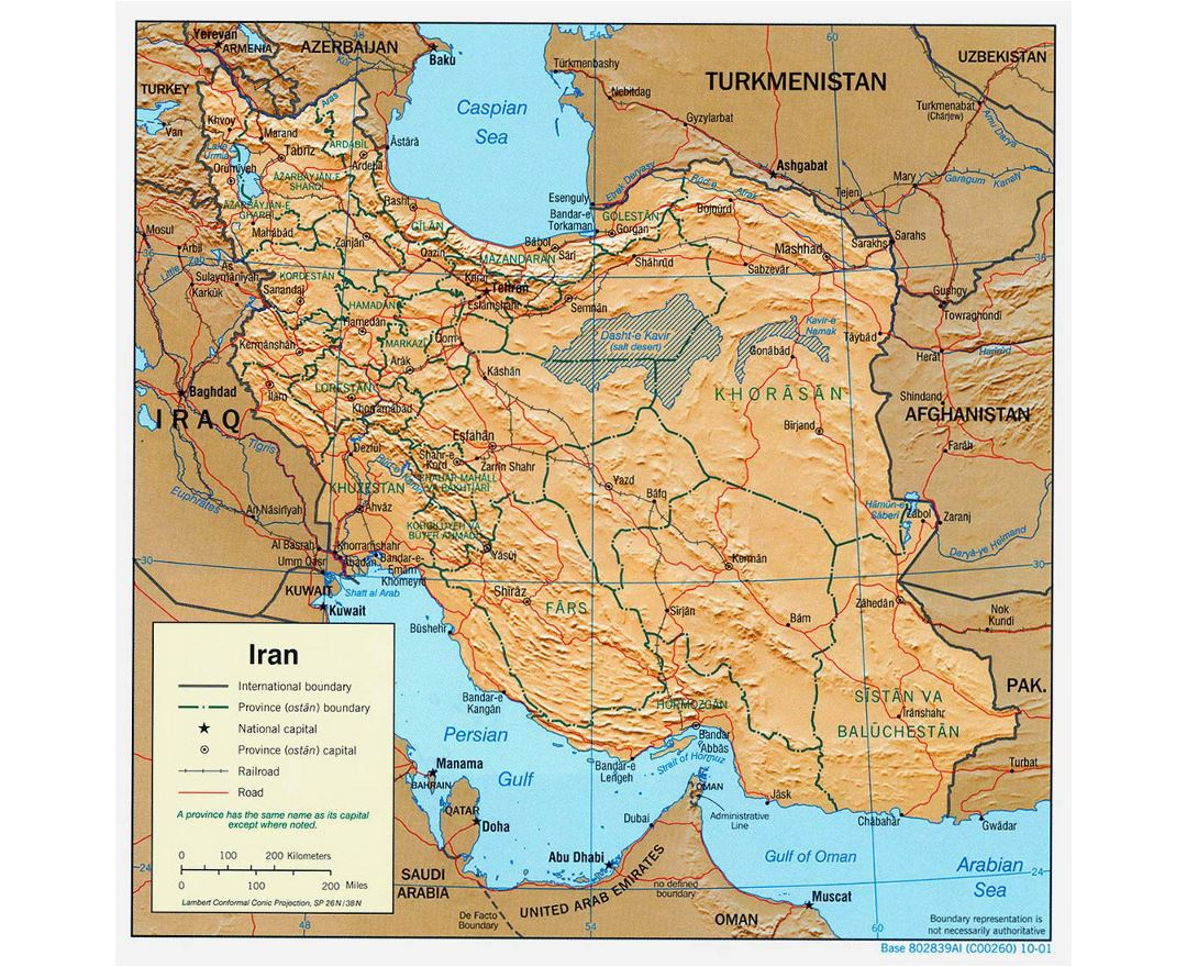 Large political and administrative map of Iran with relief, roads, railroads and major cities - 2001