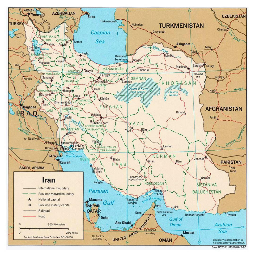 Large political and administrative map of Iran with roads, railroads and cities - 1996