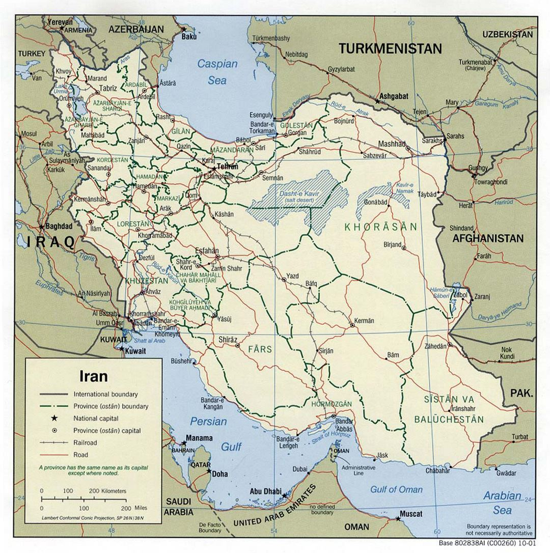 Large political and administrative map of Iran with roads, railroads and major cities - 2001