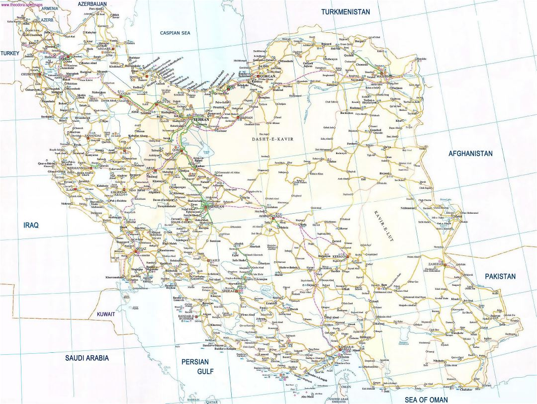 Large road map of Iran