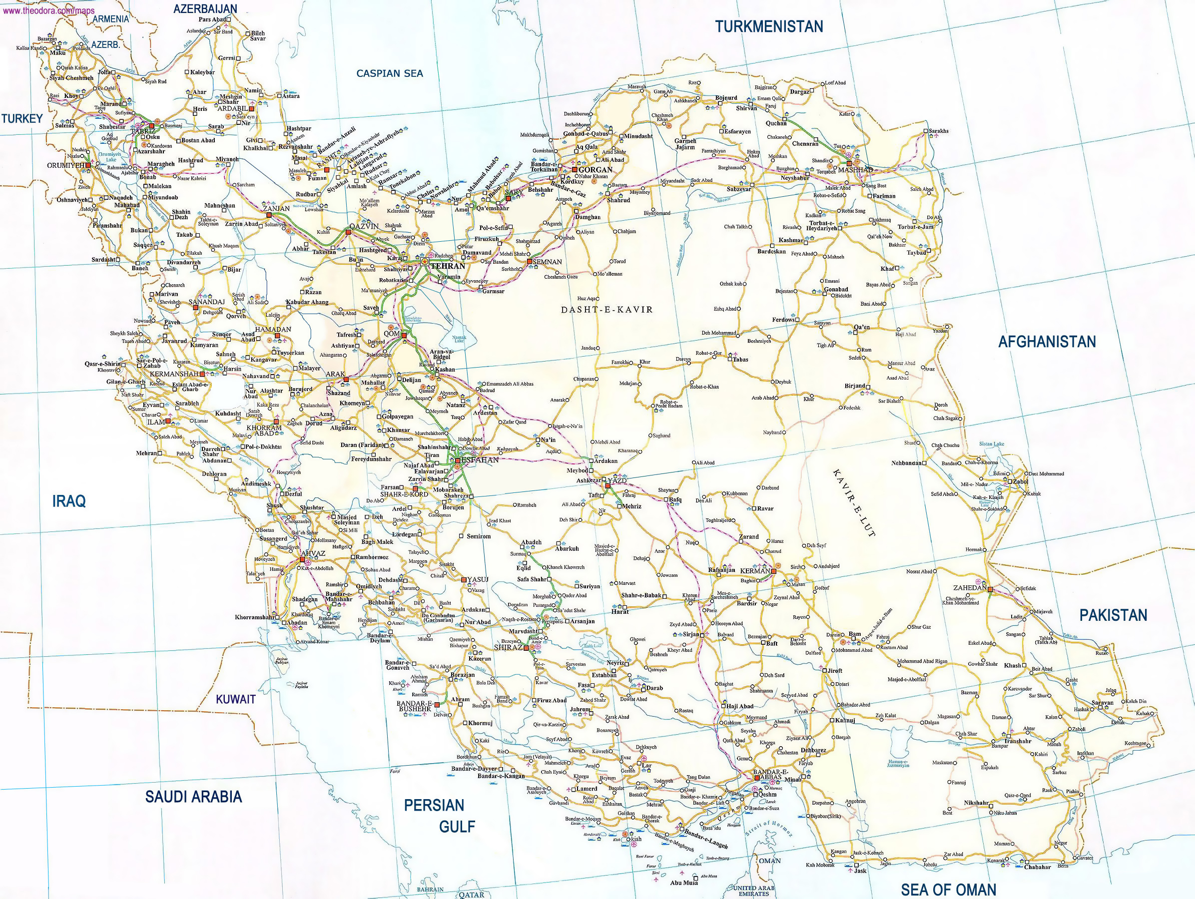 Large road map of Iran Iran Asia Mapsland Maps of the World