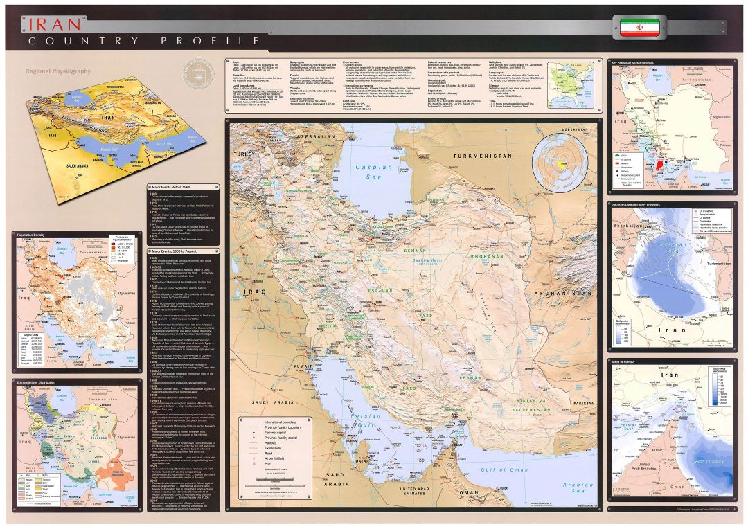 Large scale country profile wall map of Iran - 2004