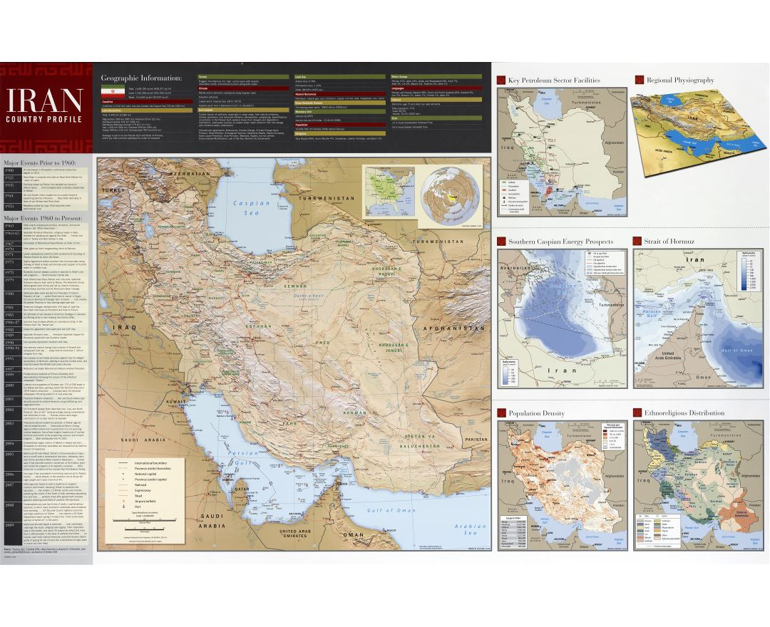 Large scale detailed country profile wall map of Iran - 2009