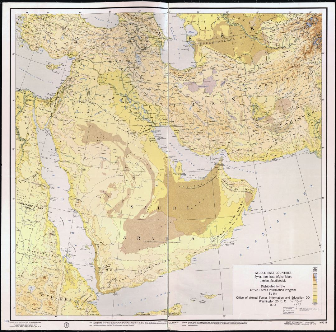 Large scale detailed old map of Middle East countries - Syria, Iran, Iraq, Afghanistan, Jordan and Saudi Arabia - 1955