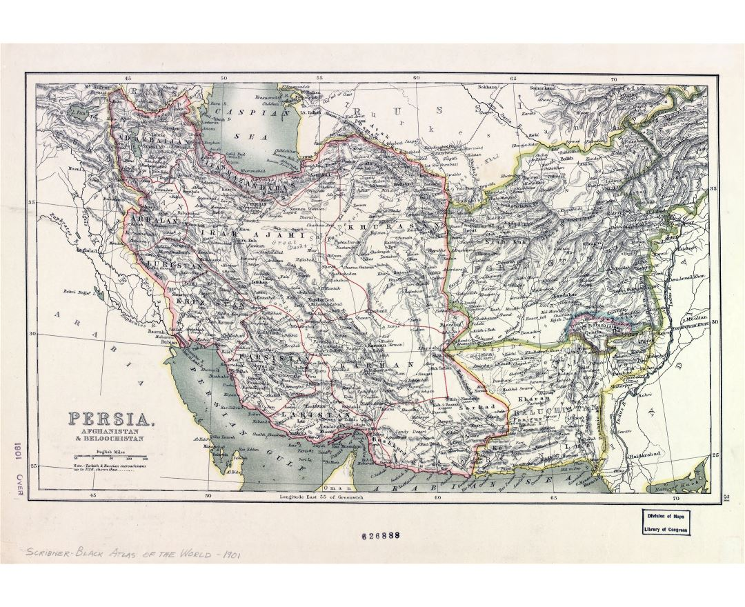 Large scale old map of Persia, Afghanistan and Baluchistan - 1901