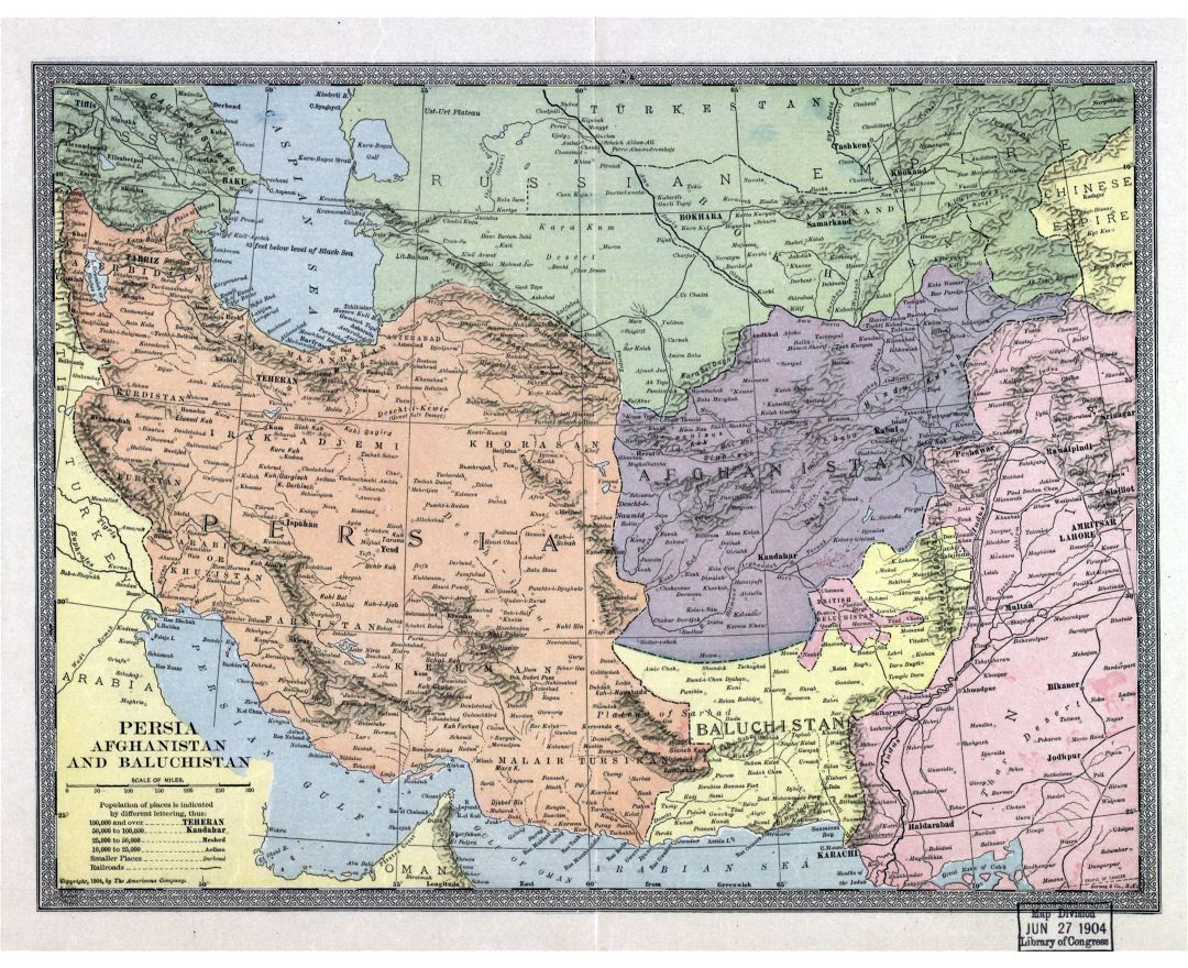 Large scale old map of Persia, Afghanistan and Baluchistan - 1904