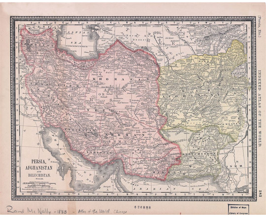 Large scale old map of Persia, Afghanistan and Beluchistan - 1883
