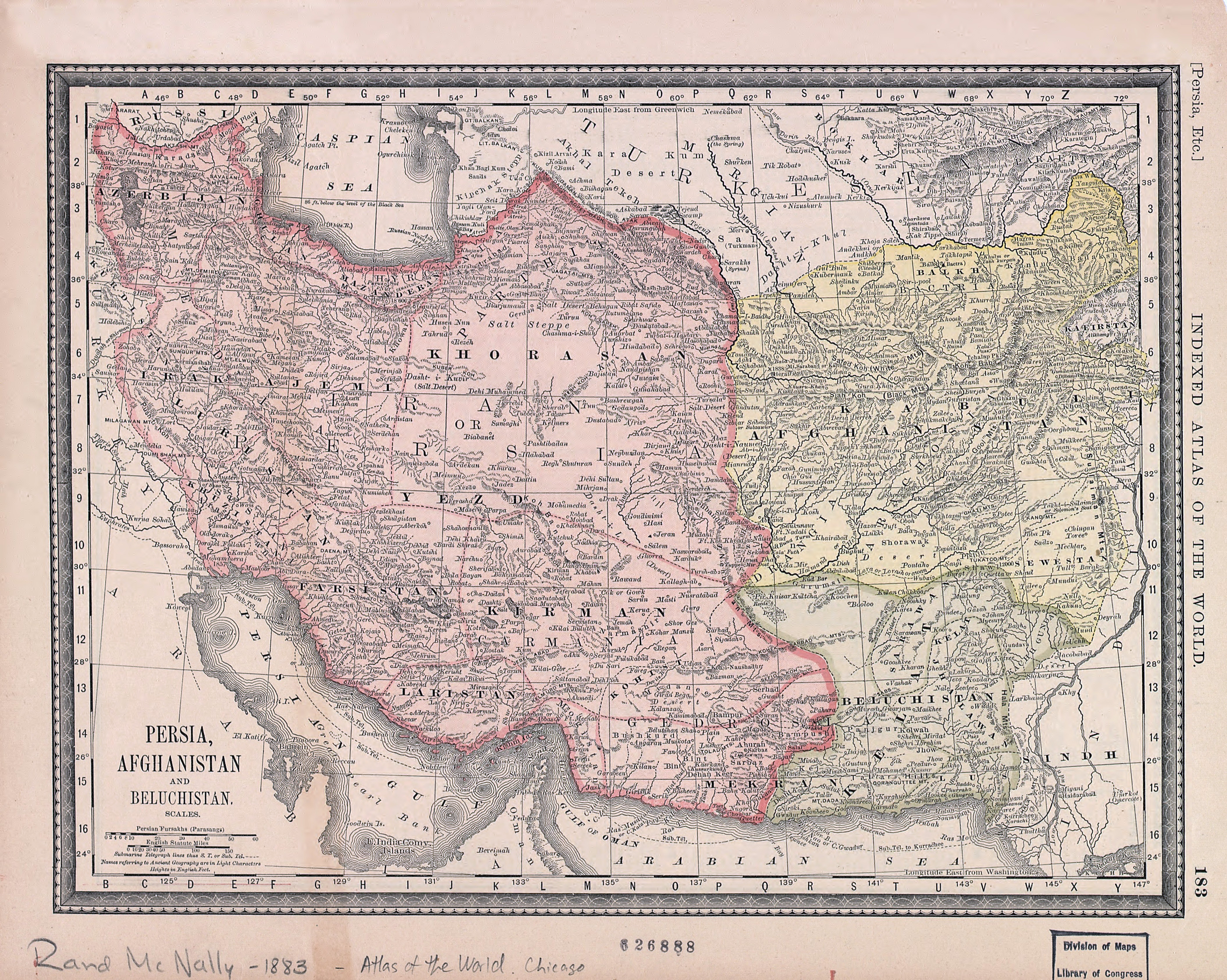 Large Scale Old Map Of Persia Afghanistan And Beluchistan 1883