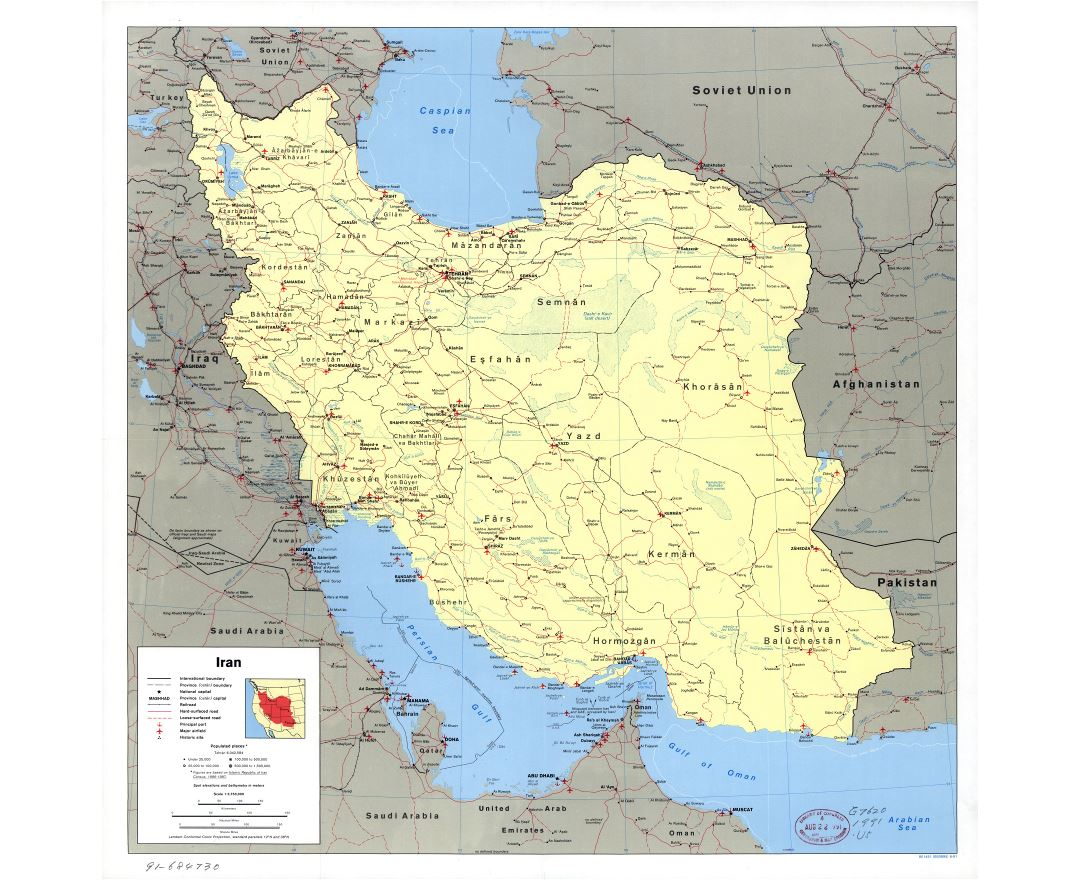 Large scale political map of Iran with all roads, railroads, cities, ports, airports and other marks - 1991
