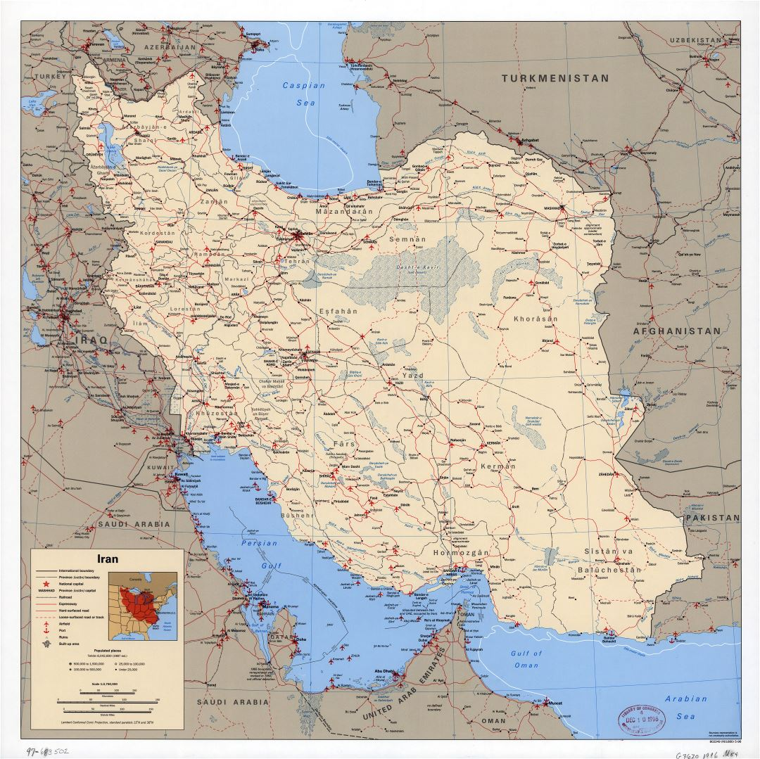 Large scale political map of Iran with all roads, railroads, cities, ports, airports and other marks - 1996