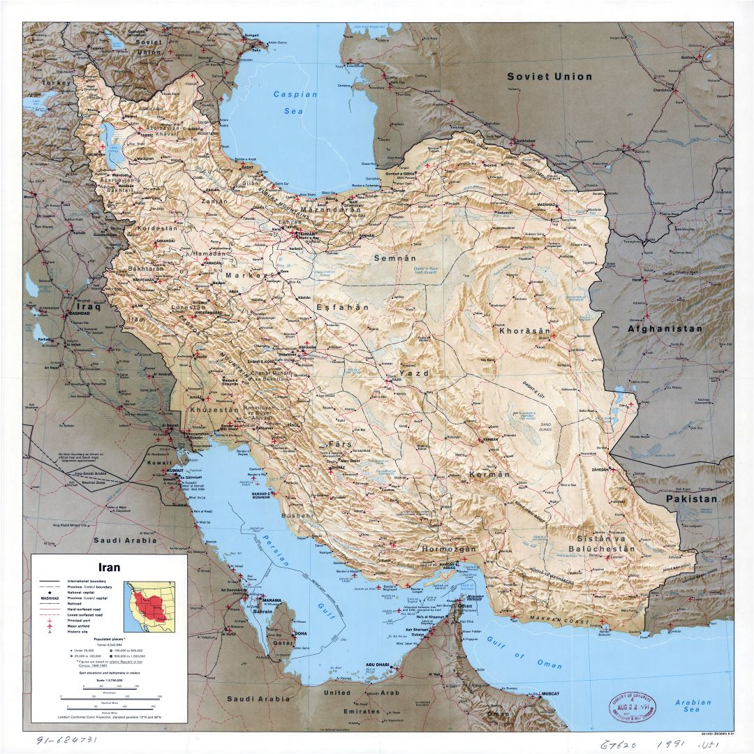 Large scale political map of Iran with relief, all roads, railroads, cities, ports, airports and other marks - 1991