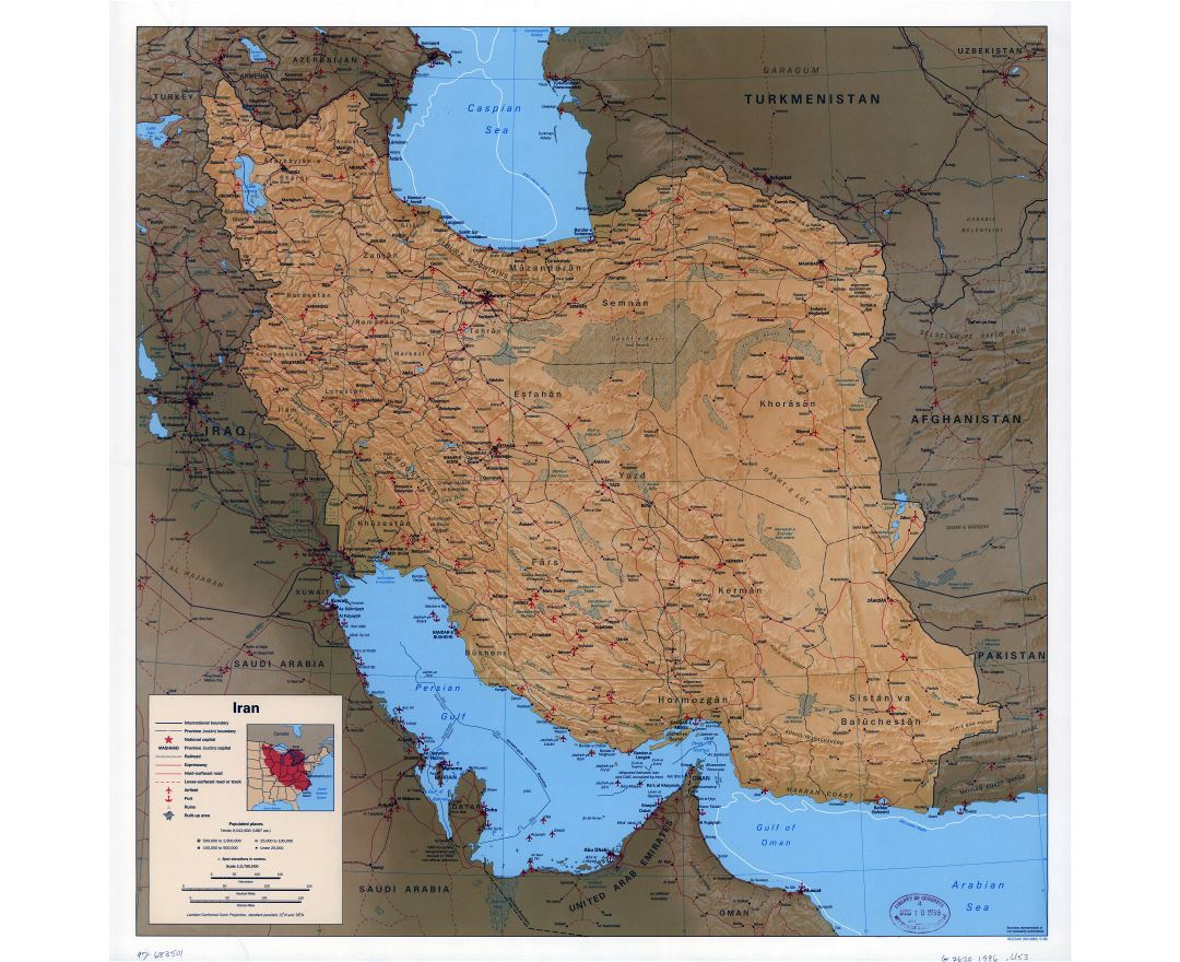 Large scale political map of Iran with relief, all roads, railroads, cities, ports, airports and other marks - 1996