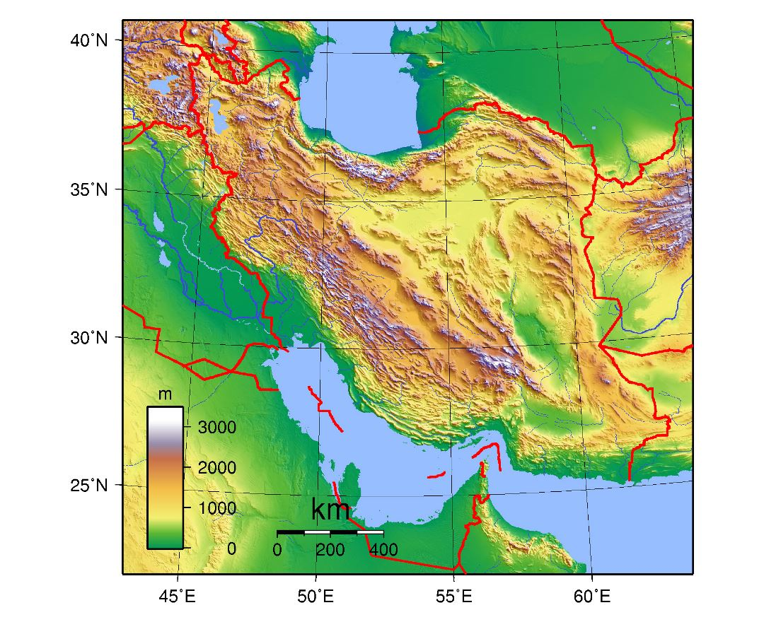 Large topographical map of Iran