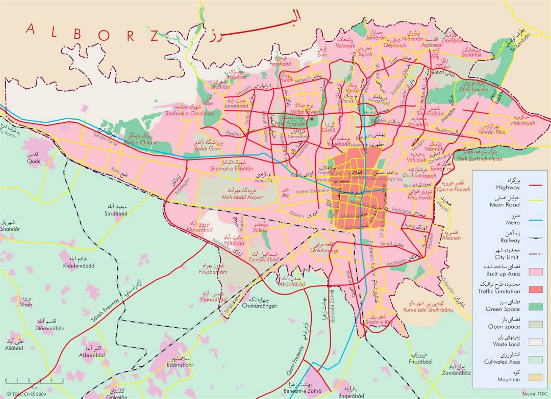 Detailed general map of Tehran city