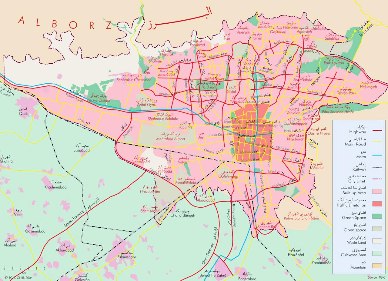 Detailed general map of Tehran city | Tehran | Iran | Asia