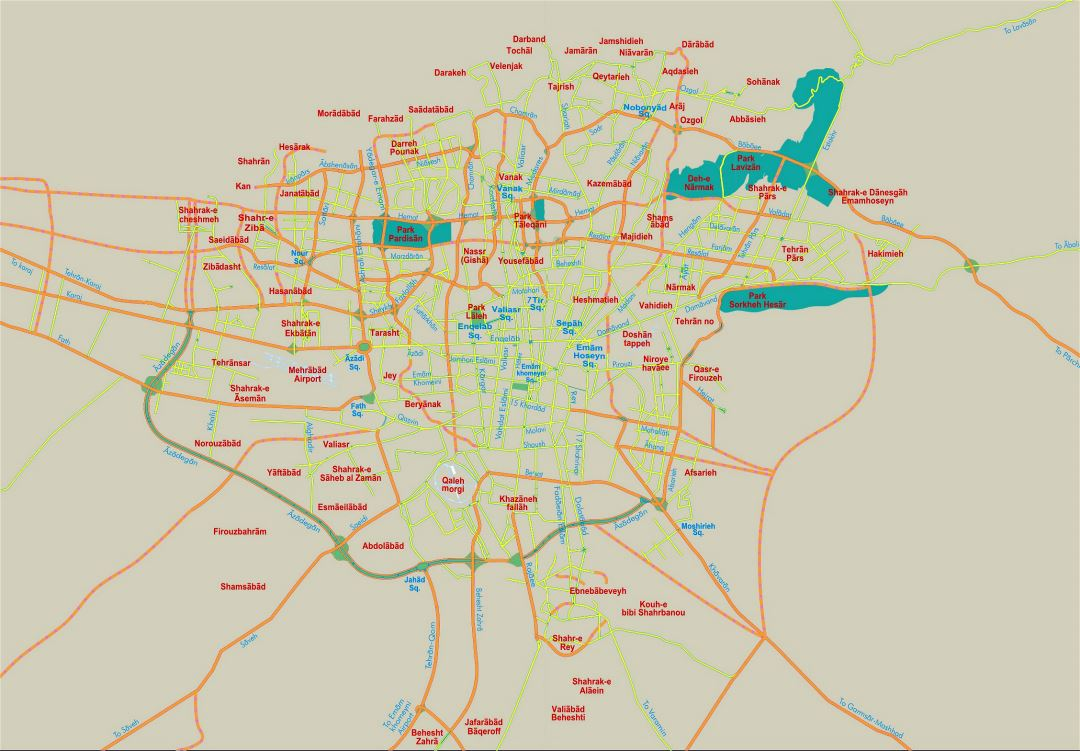 Detailed road map of Tehran city