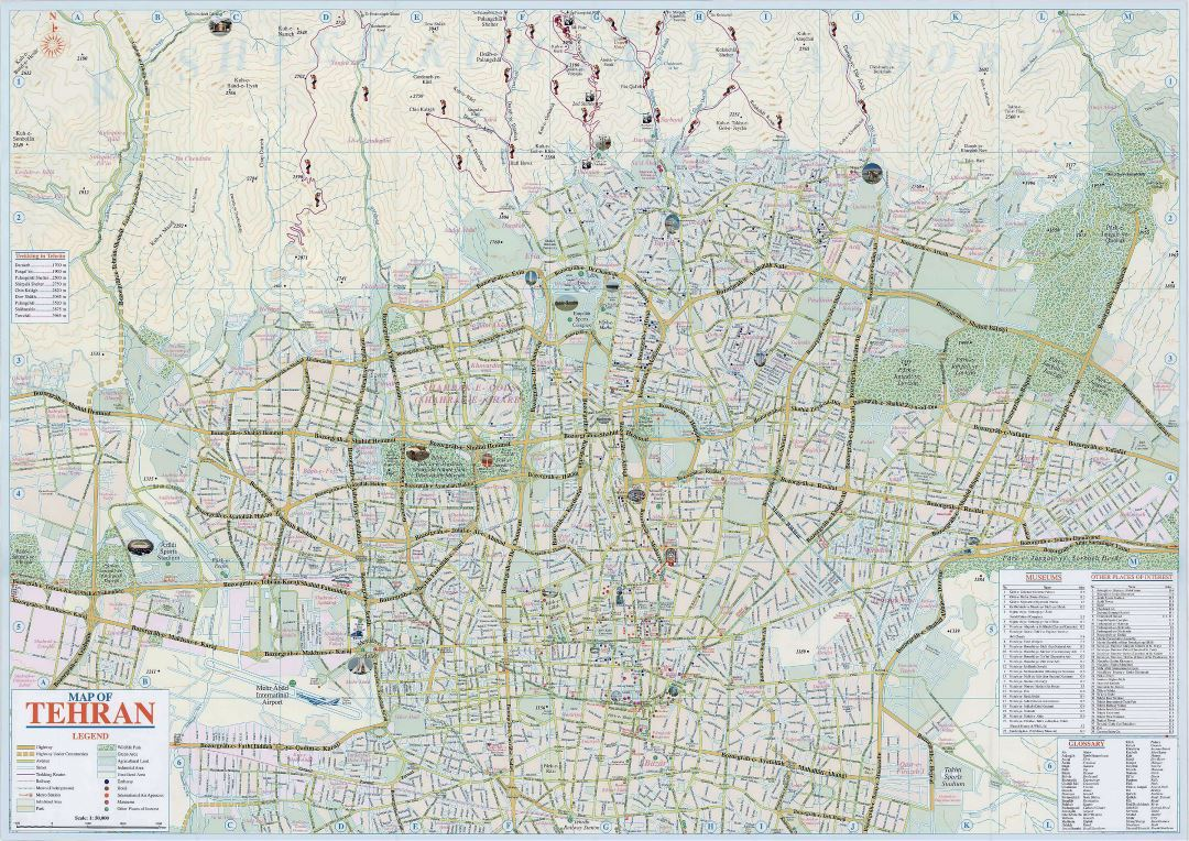Large detailed tourist map of Tehran city