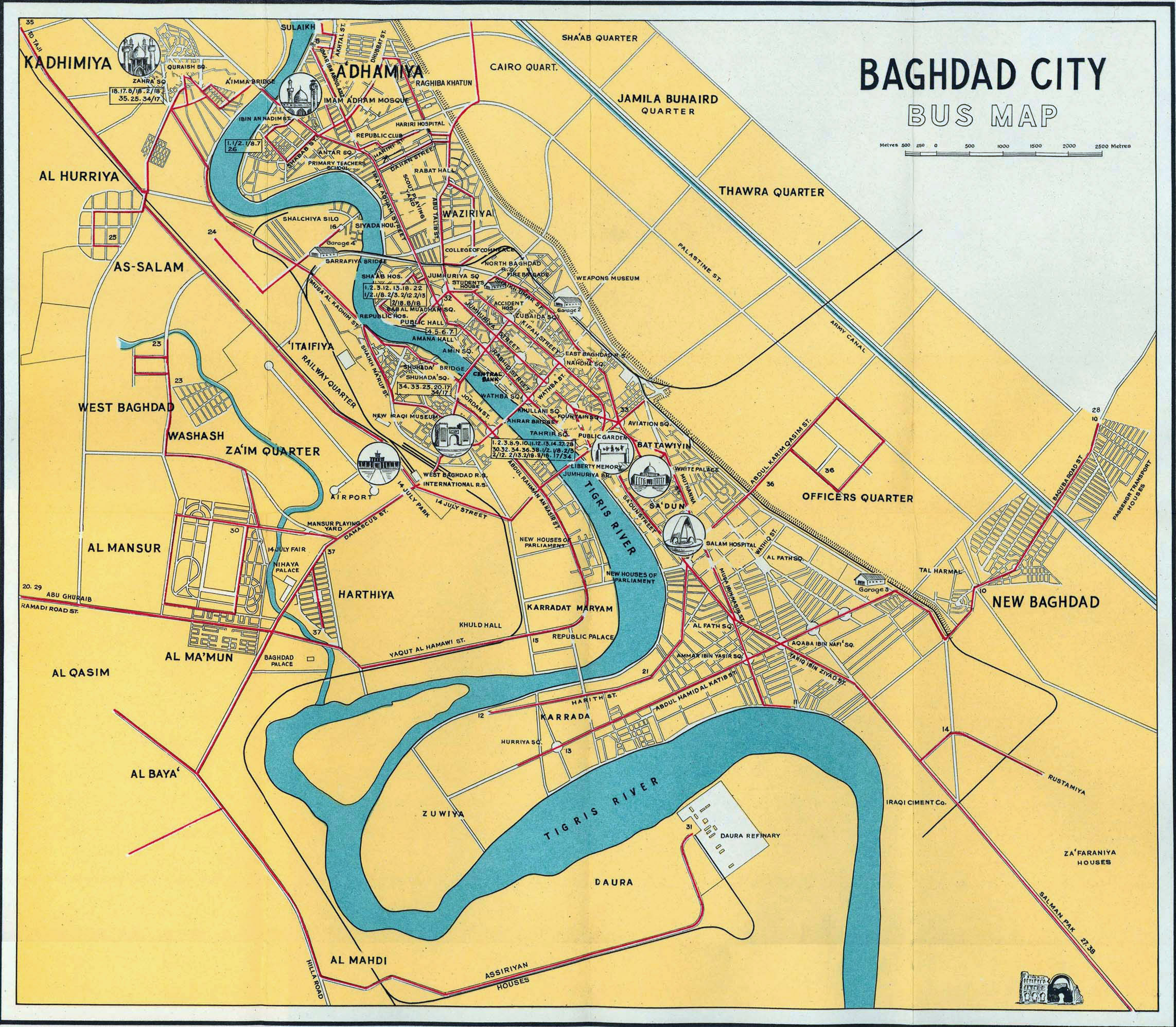 Large bus map of Baghdad city - 1961 | Baghdad | Iraq | Asia ...