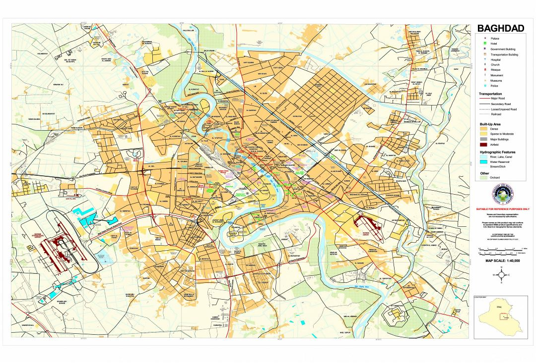 Large detailed road map of Baghdad city