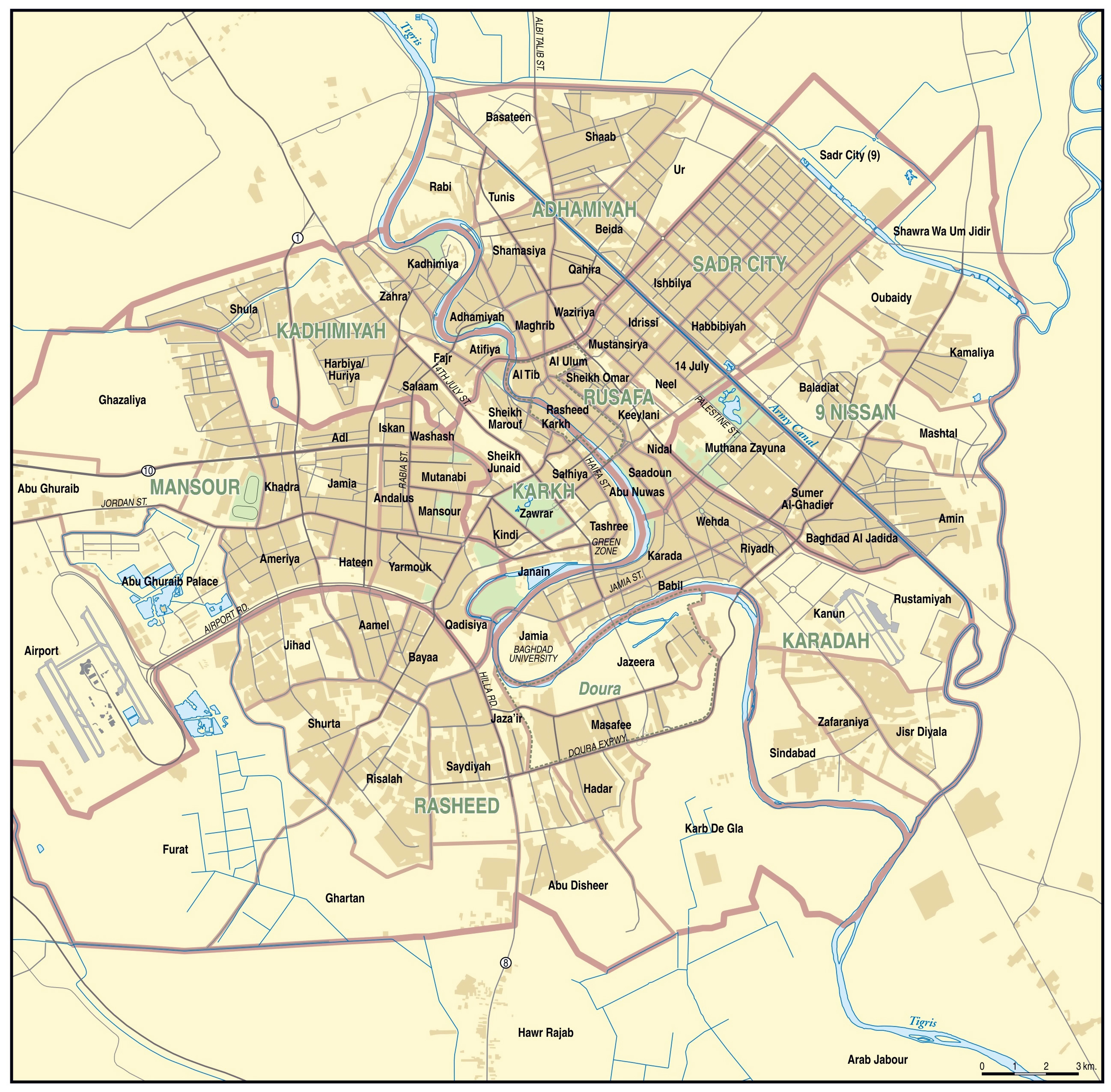 large detailed road map of baghdad