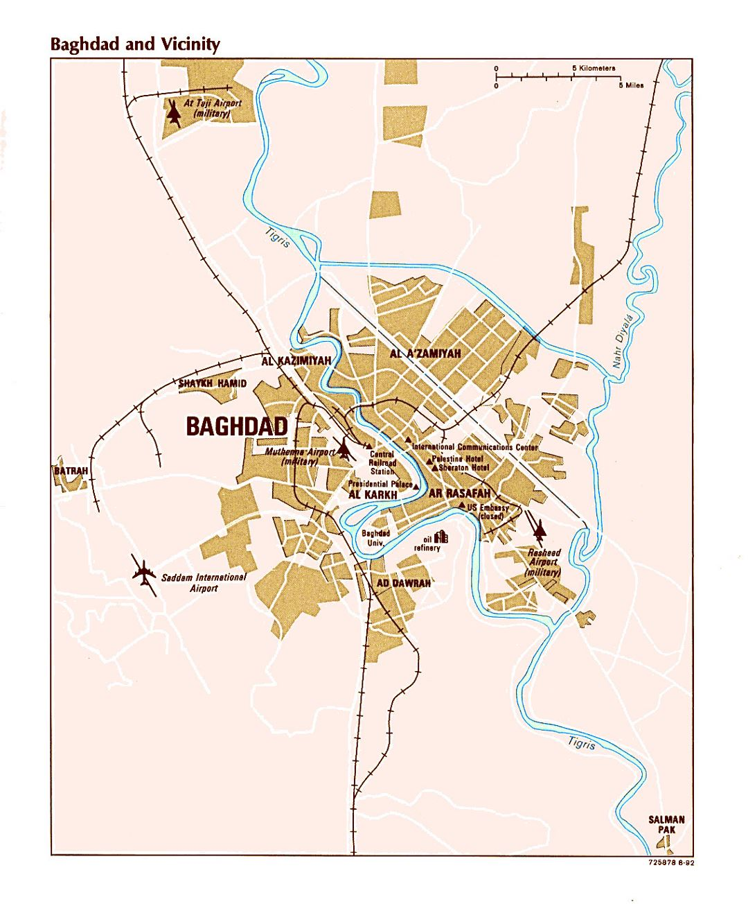 Large map of Baghdad and vicinity with airports