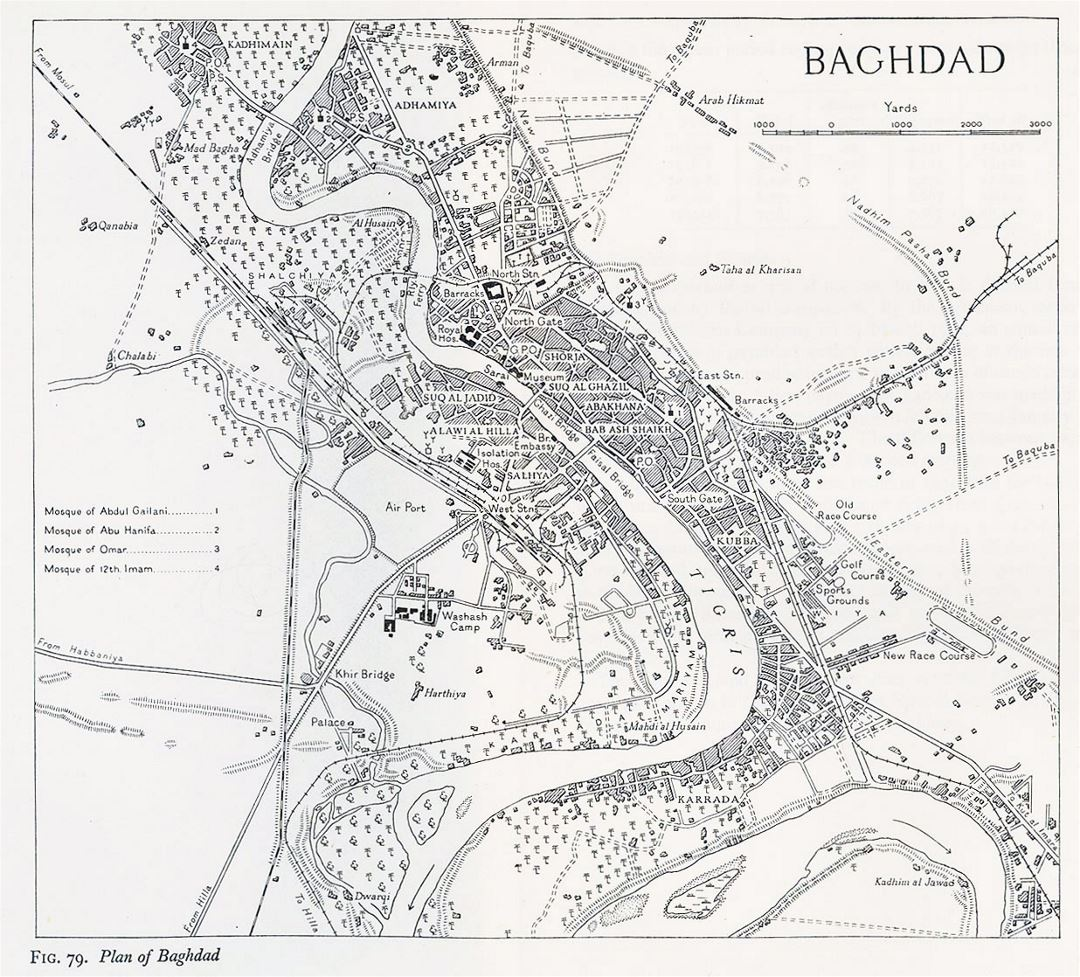 Large old map of Baghdad city - 1944