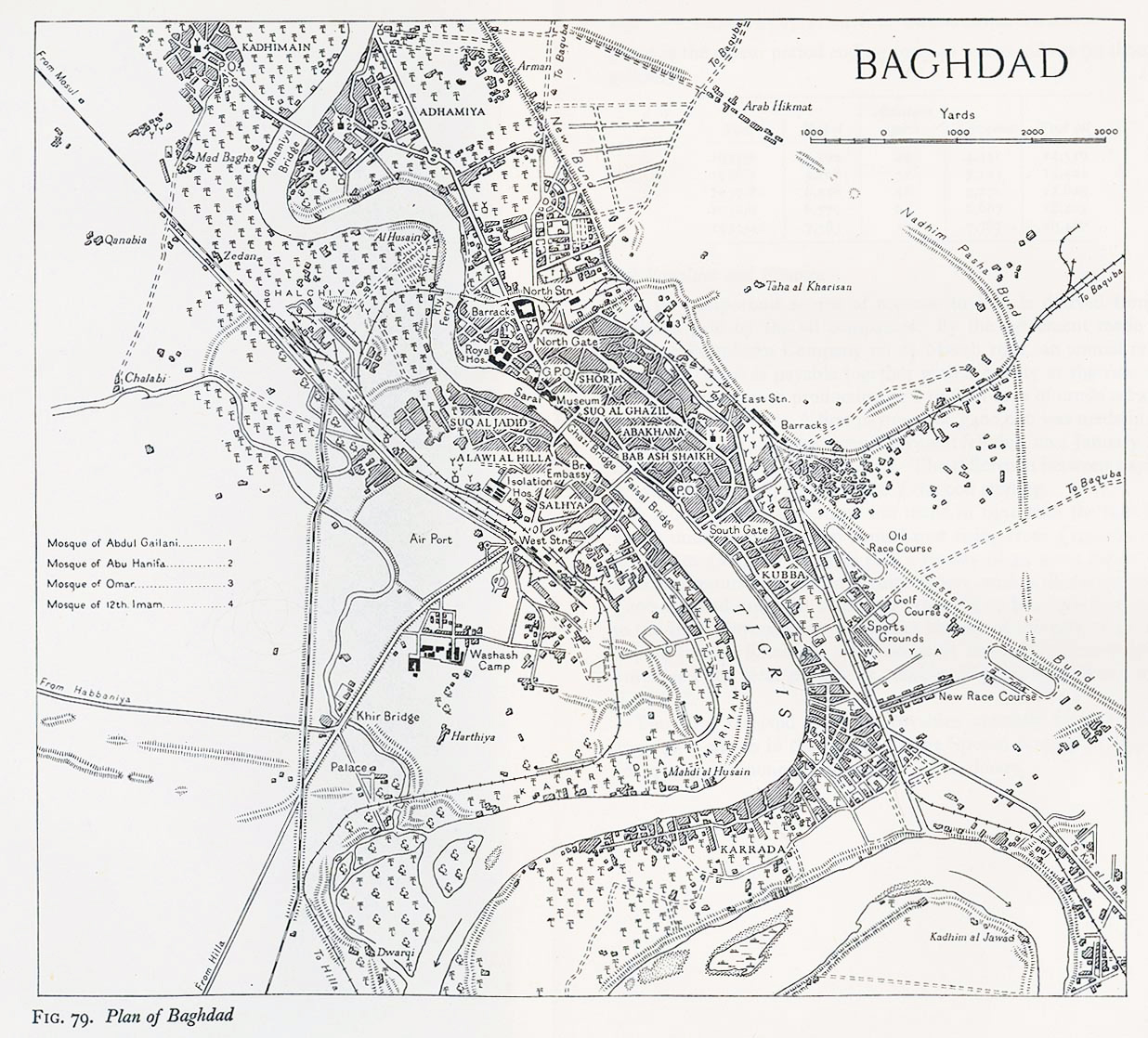 Large old map of Baghdad city 1944 Baghdad Iraq Asia