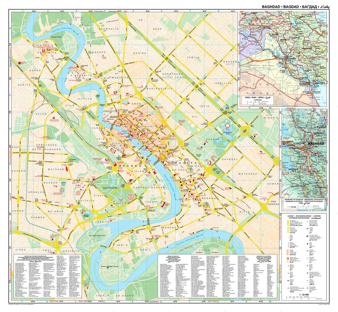 Large road map of Baghdad city