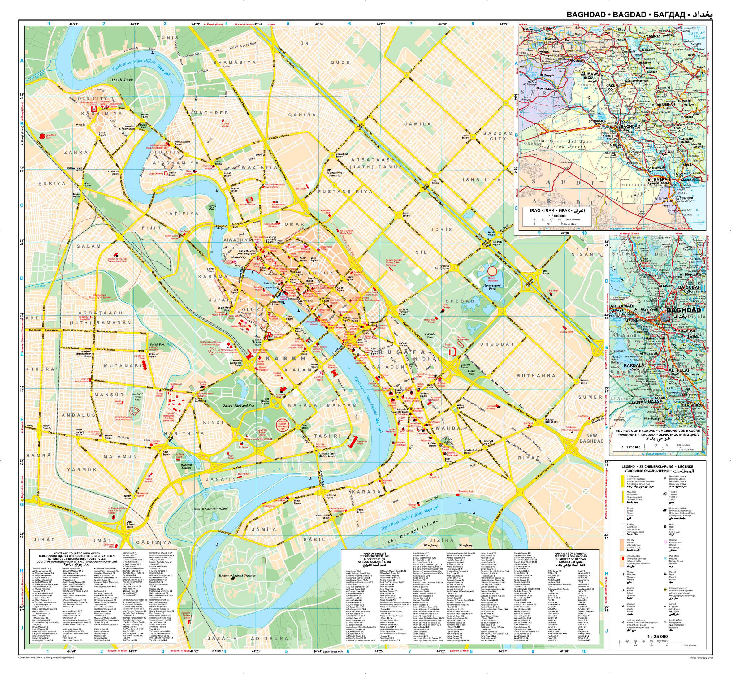 Large Road Map Of Baghdad City Baghdad Iraq Asia Mapsland - Baghdad map world