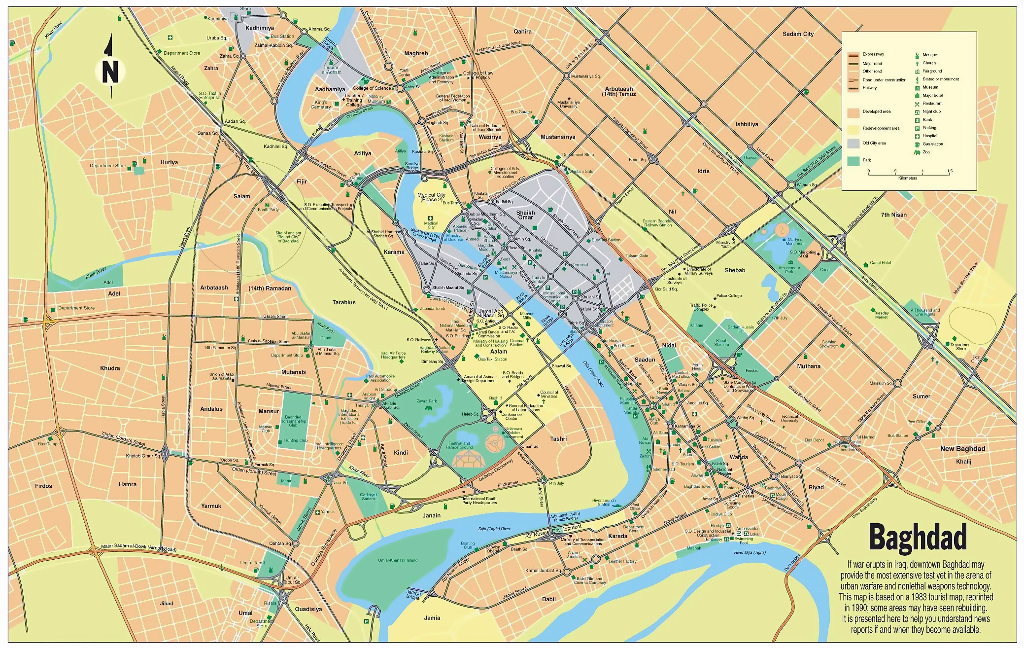 large road map of central part of baghdad city