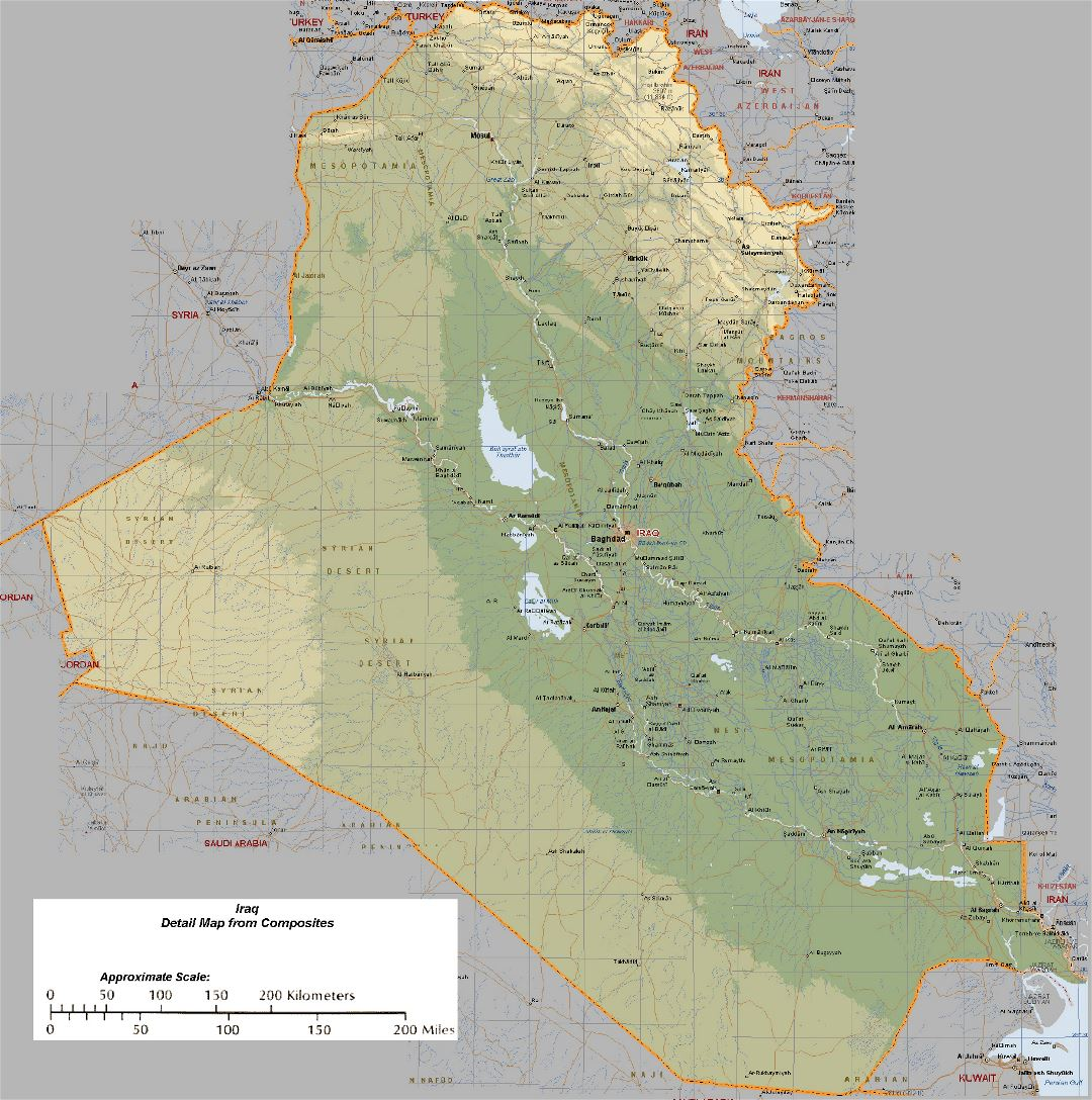 Detailed elevation map of Iraq with roads and cities