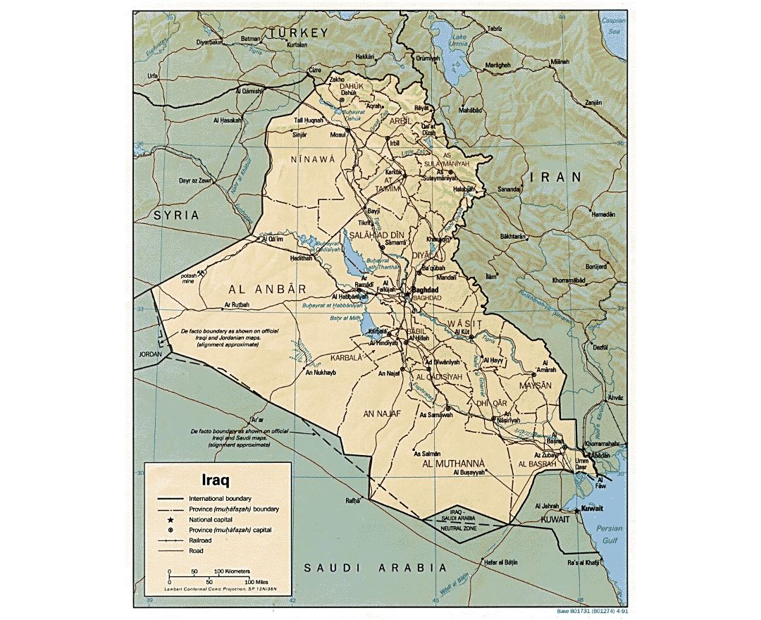Detailed political and administrative map of Iraq with relief, roads, railroads and major cities - 1991