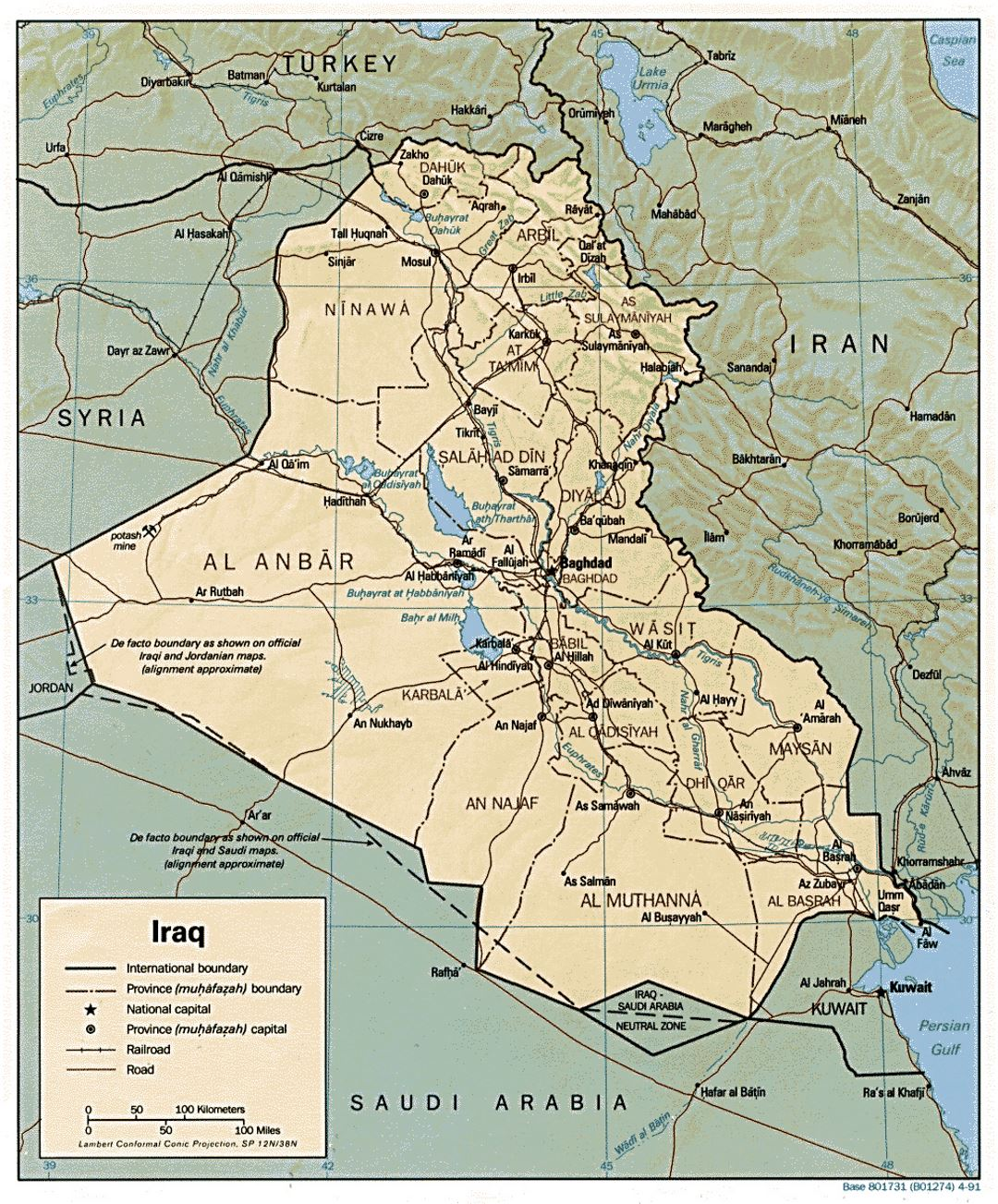 Detailed political and administrative map of Iraq with relief, roads ...