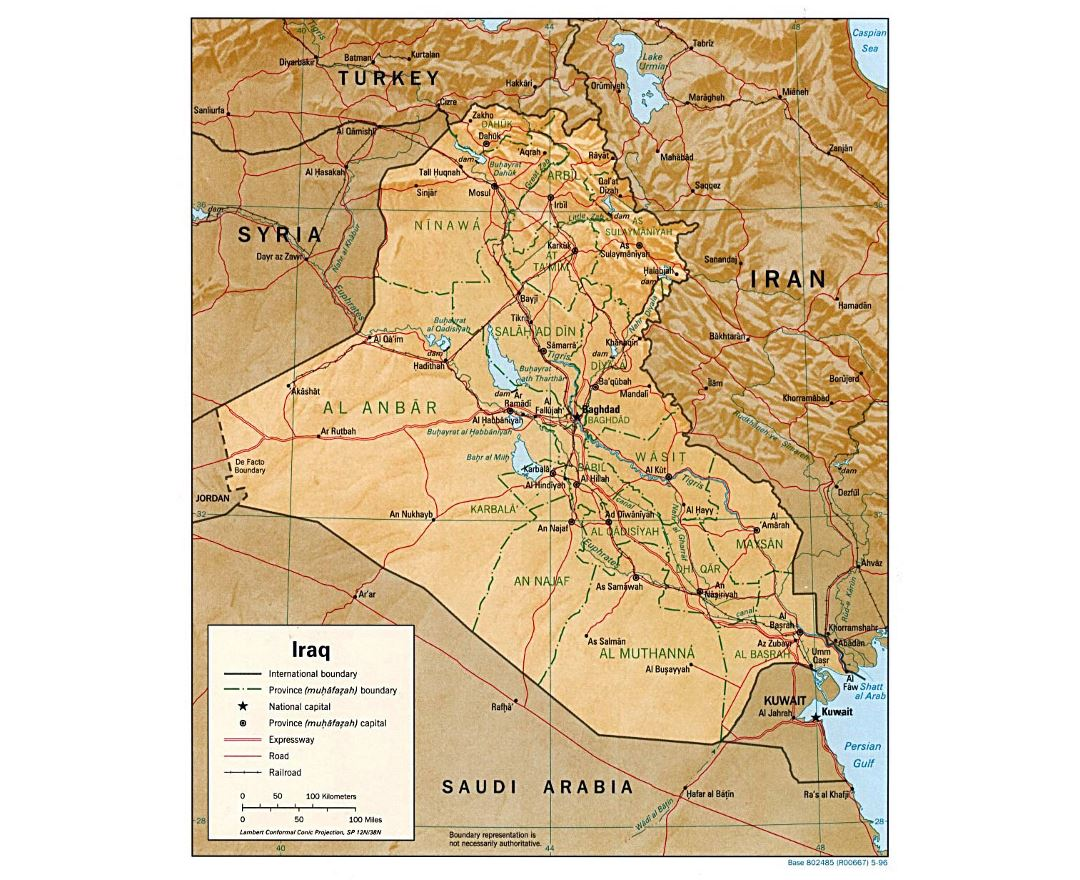 Detailed political and administrative map of Iraq with relief, roads, railroads and major cities - 1996